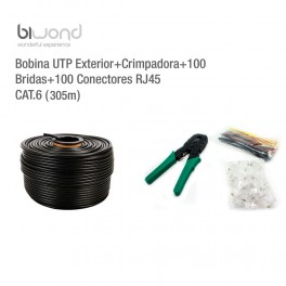 Bobina UTP Exterior 305m Cat6 + Kit Herramientas BIWOND - Inside-Pc